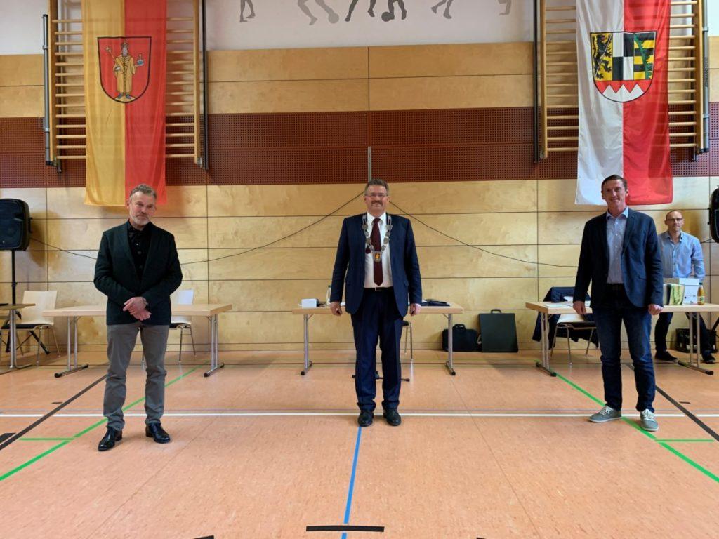 Bürgermeister Thomas Thiem, Lothar Huß, Klaus Lang