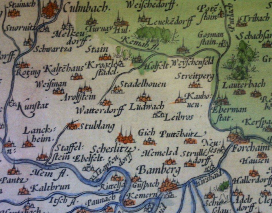Gebietskarte von Sebastian von Rotenhan von 1600